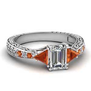 orange wedding rings emerald cut engagement rings with orange sapphire in 14k white gold trillion ring