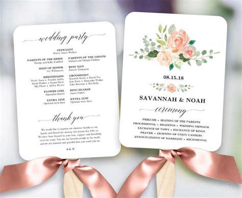 free wedding program fan blush floral wedding program fan template printable fan wedding programs diy wedding