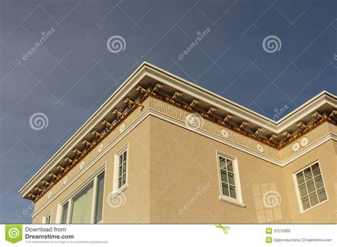 cornice roof upscale house roof and cornice detail stock photo image