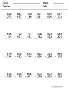 HD wallpapers three digit subtraction with regrouping worksheets 2nd grade
