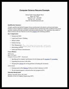 fresher computer science student resume sle computer science resume sle student document