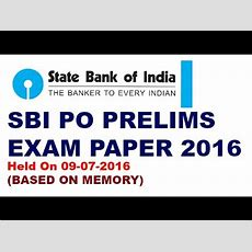 State Bank Of India(po) Pre Exam Paper 2016 (based On Memory) Youtube