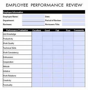 10 sample performance evaluation templates to download for Performance review template doc