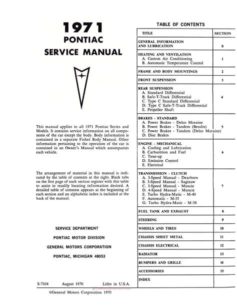 service and repair manuals 1995 pontiac bonneville regenerative braking 1971 pontiac service manual oem service repair book