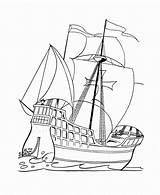Coloring Boat Boats Printable Ships Santa sketch template