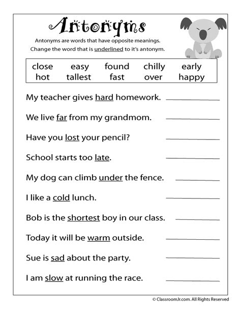 free printable antonym worksheet school language arts