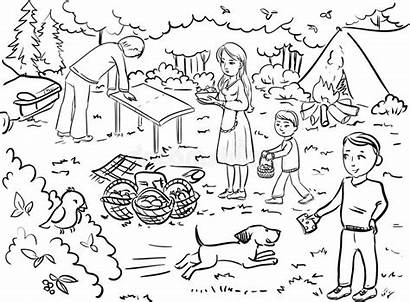 Picnic Recreation Coloring Clipart Famille Bear Having