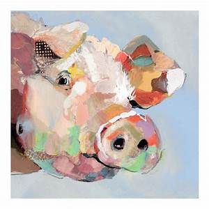 Funny pig hand-painted modern abstract animal oil painting