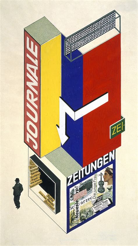 Modern Artwork by Herbert Bayer Design For A Newspaper Kiosk 1924