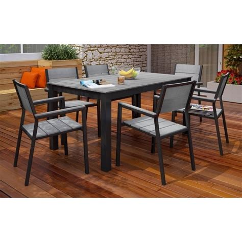 modway maine 7 outdoor dining set in brown and gray