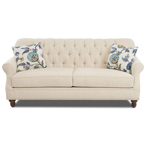 Apartment Size Sofa Dimensions by Traditional Tufted Apartment Size Sofa With Nailheads By