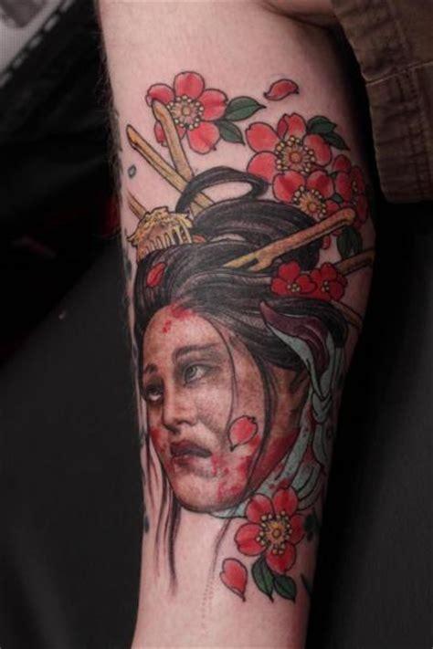 calf japanese geisha tattoo  camila rocha