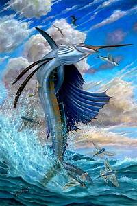 Sailfish And Flying Fish Painting by Terry Fox