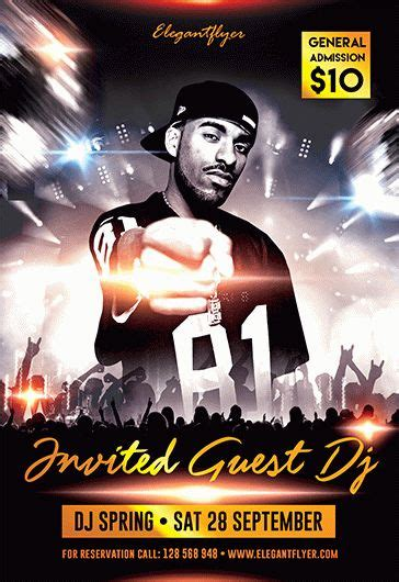 invited guest dj  flyer psd template  elegantflyer