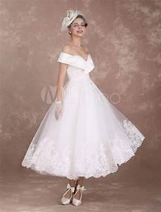 vintage wedding dresses off the shoulder short bridal With robe mariee courte avec bague argent