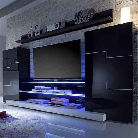 wohnwand modern hochglanz wohnwand schwarz wei 223 hochglanz schrankwand tv lowboard vitirne wohnzimmer neu ebay
