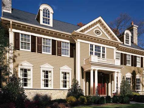 paint color ideas for colonial revival houses brown roof