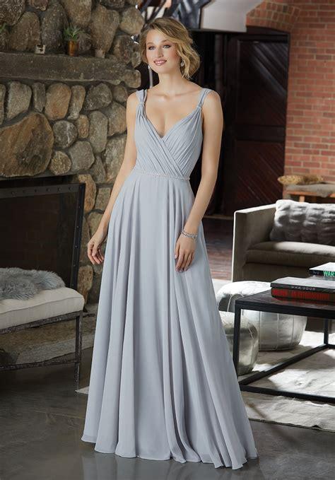 Figure Flattering Chiffon Bridesmaid Dress With Beaded