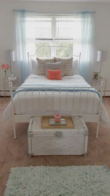 blue table ls bedroom white bedroom with pops of blue and coral end tables from