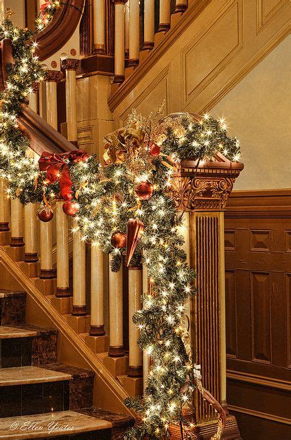 lighted garland for staircase banister decor christmas stairs pinterest beautiful