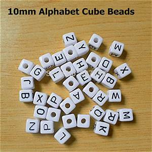 500pcs 10mm white diy acrylic alphabet cube letter bead With plastic alphabet beads by letter