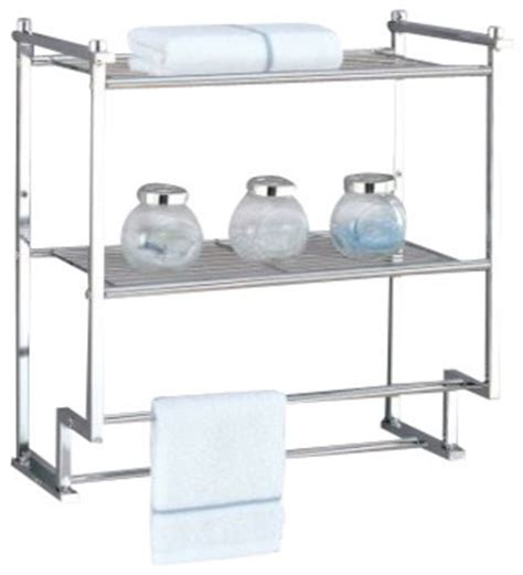 metro 2 tier wall mount rack with towel bars modern