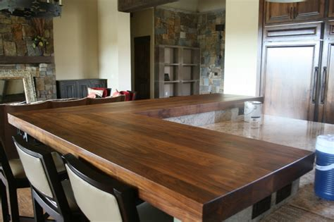 walnut bar tops transitional kitchen austin  wr