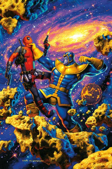 thanos beats deadpool android red