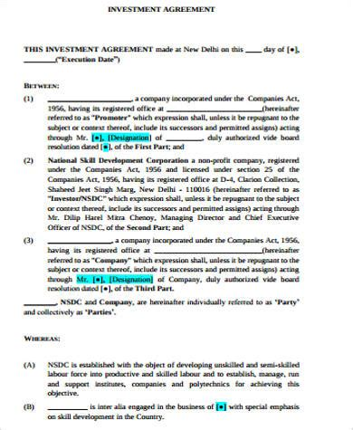 sample investment agreement templates   ms
