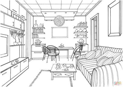 Coloring Living Room by Living Room With A Luminous Coloring Page From