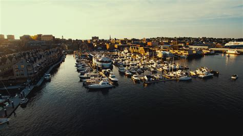 portland maine harbor drone photography