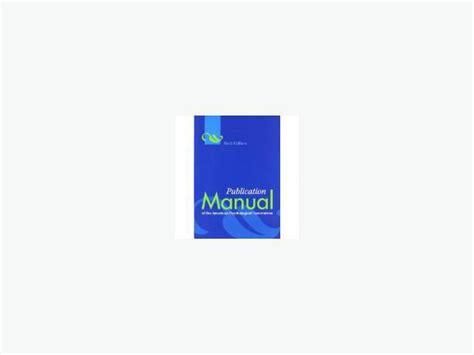 Apa 6th Ed Apa Publication Manual 6th Ed Saanich