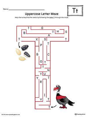 uppercase letter  maze worksheet color  images