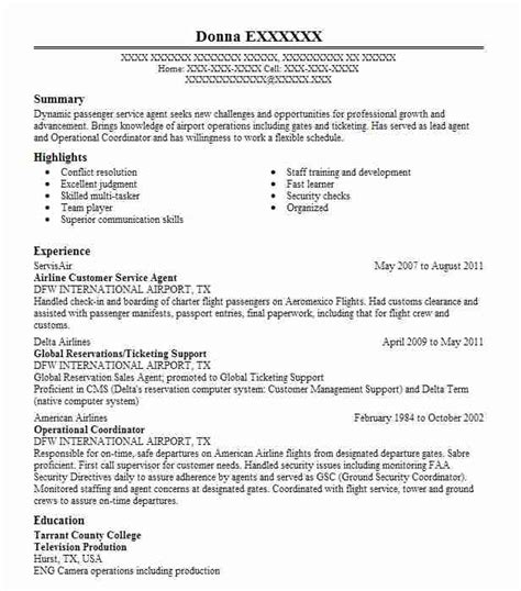 Pilot Resume Service by Airline Customer Service Resume Sle Livecareer