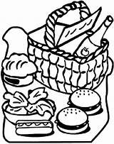Picnic Coloring Basket Food Clipart Drawing Print Blanket Clipartmag Netart Getdrawings sketch template