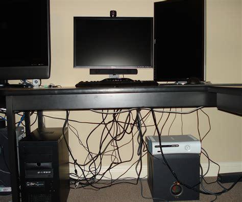 desk cable management computer cable management on the cheap 5 steps