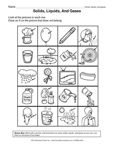 identifying states of gas matter worksheet matter liquid solid gas sort matter science