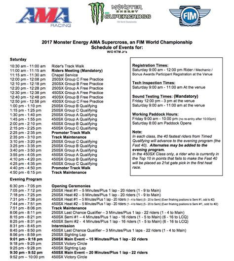 ama motocross schedule time schedule anaheim1 moto related motocross forums