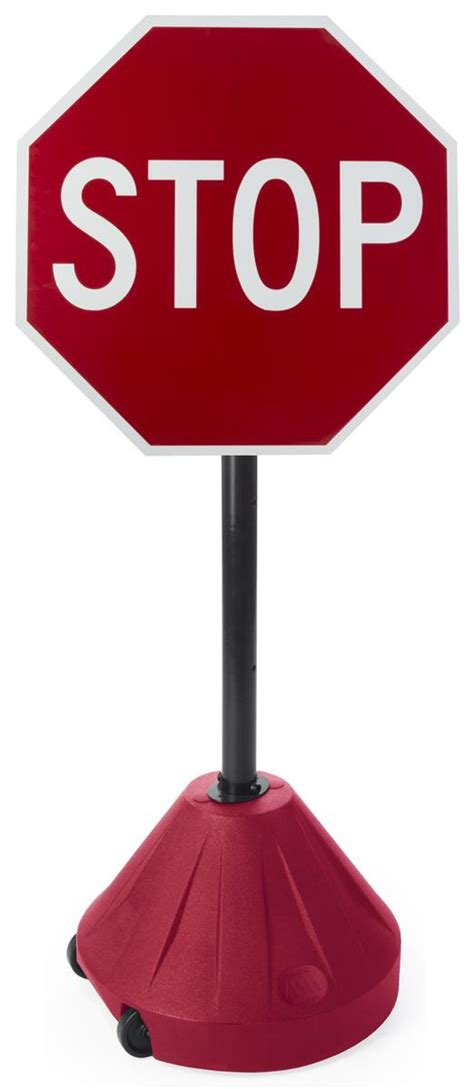 stop sign portable pole stand base wheels weather display displays2go