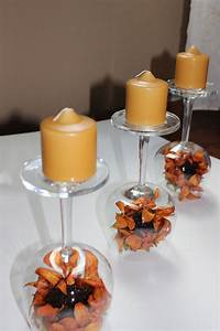 Recycled wine glasses – fall wine glass centerpieces