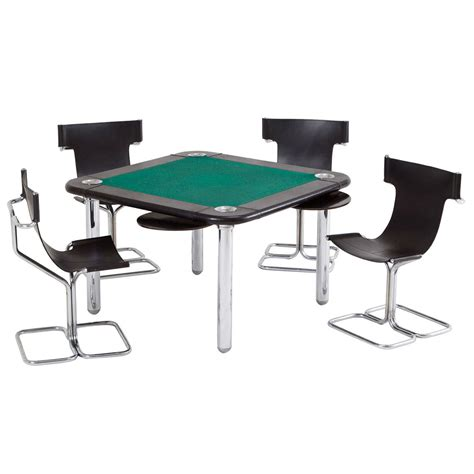 card and game tables chrome and leather game card table and chairs at 1stdibs