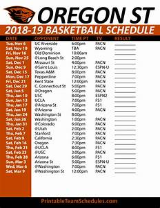 Printable Oregon State Basketball Schedule 2018-19