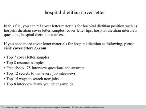 Dietitian Resume Cover Letter by Hospital Dietitian Cover Letter