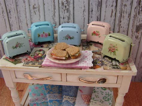 shabby chic kettle and toaster dollhouse miniature shabby chic farmhouse vintage toaster with