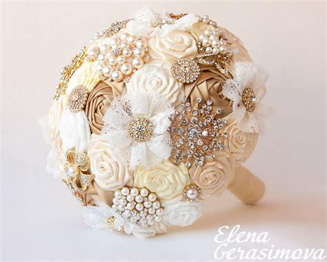 Brooch Bouquet. Gold Silver Ivory Fabric Bouquet, Unique