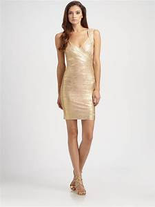 herve leger metallic bandage dress in gold lyst With herve leger robe bandage