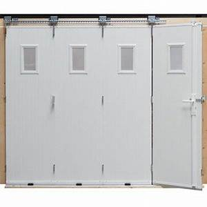 Porte de garage coulissante ouverture laterale porte de for Porte de garage coulissante jumelé avec installation porte