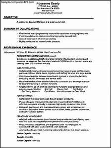 bination Resume Sample Banquet Manager Sample