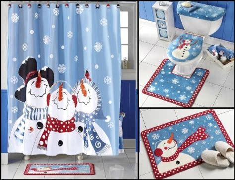 frosty friends snowman shower curtain bath rug toilet