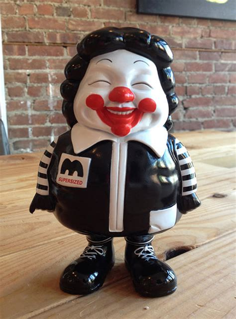 mc supersize ronald mcdonald black vinyl art toy  ron